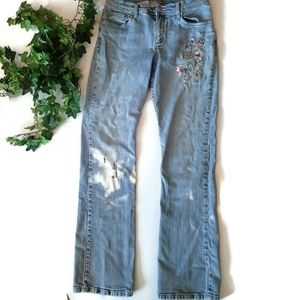 ZENA Distressed & embroidered bootcut denin jeans…